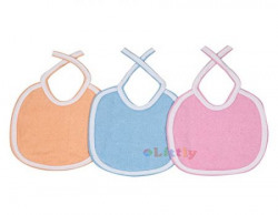 Littly Double Terry Towel Bibs Combo, Pack of 3 (Blue, Pink, Orange)