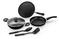 Sunflame Non-Stick Aluminium Cookware Set, 5-Pieces, Silver
