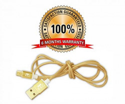 R&G GOLD PLATED Micro USB Fast Charging Pure Copper Metallic 1.2m Braided Charging & Data Cable - Gold