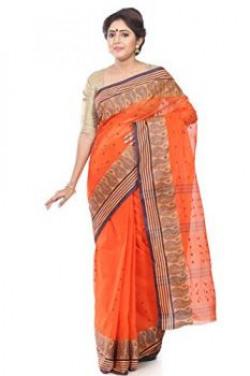 B3Fashion Orange coloured Traditional Bengal Tant Handloom saree