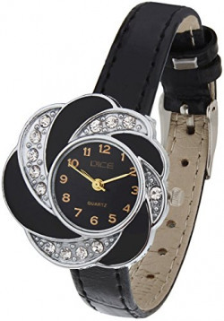 Dice Flora-6508 Flower Shaped Designer Wrist-watch for women. Fitted with beautiful Black Dial, Mettalic Case and matching black color leather strap.