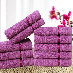 Story@Home Solid 10 Piece 450 GSM Cotton Face Towel Set - Purple