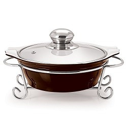 Cello Prego CUCINA ROUND CASSEROLE WITH METAL STAND 1500 ml BROWN