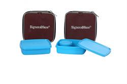 Signoraware Nano Twin Smart Lunch Box with Bag Set, 390ml, Set of 2, Turkish Blue