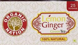 Organic Nation Lemon Ginger Green Tea 25 Tea bags X 2g = 50g