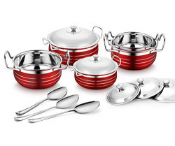 Classic Essentials Stainless Steel Handi Set of 5pcs with 3pcs Serving spoons