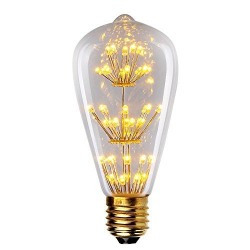 Starry Night® 3W Edison Style Vintage LED Decorative Light Bulb, 2200K Warm Color (Amber Glow) 250LM