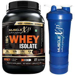 MuscleXP 100% Whey Isolate Protein - 1Kg (2.2 lbs), Double Rich Chocolate with Shaker - Design 14