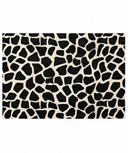 Casa Copenhagen Black Animal Skin Exotic Collection 600 GSM Cotton Bath Mat, Cream & Black