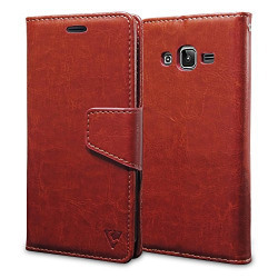 Ceego Wallet Flip Cover For Samsung Galaxy J3 (2016) - (Ultra Compact With Credit Card Slots & Wallet) - Samsung J3 (2016) Flip Case (Walnut Brown)