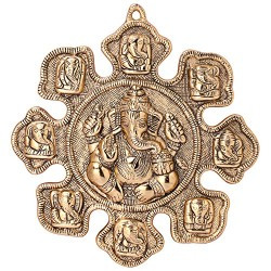 Jaipuri Haat Ganesha Astavinayaka ( 8 Avatar of Lord Ganesh) hanging in Gold Finish Ideal for Gift Purpose( 28@28 CM)