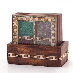 Little India Antique Design Gemstone Tea Coaster Set (198, Brown)