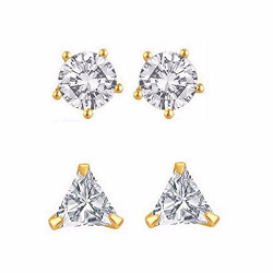 Efulgenz Jewellery Combo of Gold Plated Solitaire Stud Earrings for Girls and Women