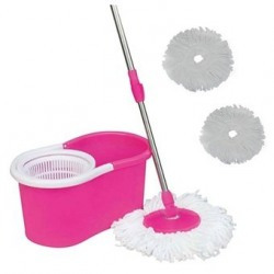 Easy Life Easy Magic Mop 360 Degree Rotating Fast Spin Dry 2 Mop Heads, Pink