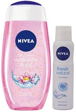 Nivea Bath Care Shower Water Lily Oil, 250ml with Nivea Fresh Natural Deodorant for Women, 150ml