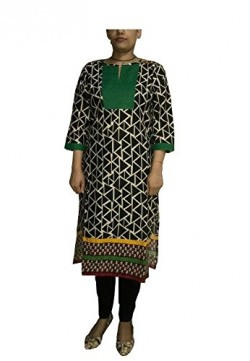 DIVA VJ Women's Green Neck 100% Cotton Printed Kurti. Extremely Elegant,Beautiful, Comfortable, Stylish Cotton Kurti