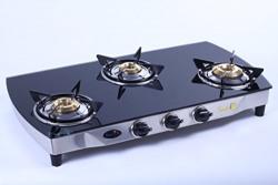 Surya C 3 Burner Smart Gas Stove Black Glass Top