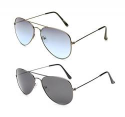 Gansta UV protective unisex aviator sunglasses combo - (GN-3002-Gun-B2-GN-3002-Gun-Blu|58|Blue Lens)