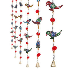 Jaipuri Haat Hand Crafted Paper Mache Parrot Garden and wall hanging 1 Pair(L-96 CM)