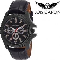 Lois Caron LCK-4042 BLACK CHRONOGRAPH PATTERN ANALOG WATCH FOR BOYS MEN Splendid Analog Watch - For Men