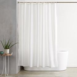 AmazonBasics Shower Curtain with Hooks - 72 x 72 inches, White