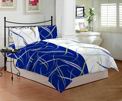 Bombay Dyeing Sestina 144 TC Cotton Double Bedsheet with 2 Pillow Covers - Blue