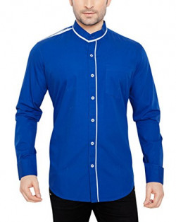 GlobalRang Men's Cotton Casual Royal Blue Stand Collar Shirt