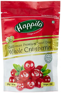 HappiloPremium Californian Dried and Sweet Whole Cranberries, 200g