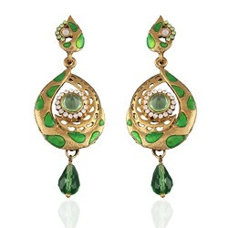 I Jewels Tradtional Gold Plated Handcrafted Meenakari Stone Earrings for Women(Light Green)(E2090P)