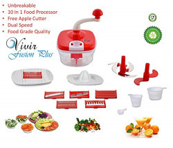 Vivir® Rock Fusion Plus Manual Food Processor ( Vegetable cutter, Dough Maker, Juicer, Meassuring Cups - All In One) - Assorted Colours