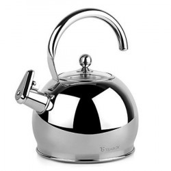 Teabox Camber Stainless Steel Tea Kettle (Large, Glass lid, Stovetop tea kettle, Capsulated base, 2.5 litres)