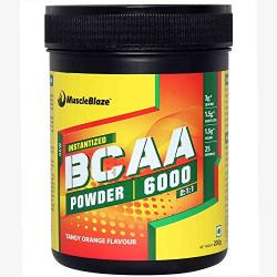 MuscleBlaze BCAA 6000, amino acid powder, powder, 0.44 lb 25 Servings (Tangy Orange)