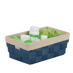 Honey-Can-Do Paper Rope Stainless Steel Tray Basket with Liner (Blue)