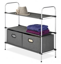 Whitmor Metal 3 Tier Shelves Closet Organizer with 2 Collapsible Drawers (Silver)