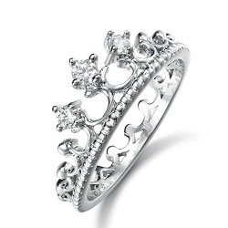 Yellow Chimes Swarovski Elements Exclusive Silver Crown Crystal Ring for Women and Girls