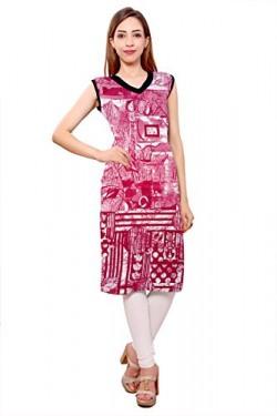 Kurti Studio Digital Pink Unstitched Premium Cotton Rayon Kurti Dress Material