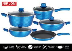 Nirlon Induction Based Bakelite, Nonstick, Aluminum Cookware Set 28 cm , 24 cm , 26 cm , 24 cm , 18 cm ,9-Pieces,Blue