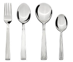 Solimo 24 piece Stainless Steel Cutlery Set, Stripes (Contains: 6 Table Spoons , 6 Tea Spoons, 6 Forks, 6 Soup Spoons)