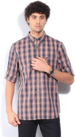 French Connection Men's Checkered Casual Brown Shirt
