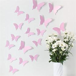 Jaamso Royals 'light Pink 3D Butterflies' Wall Sticker 1 Combo of 12 Piece (PVC Vinyl, 13 cm x 15 cm , 3D Stickers )