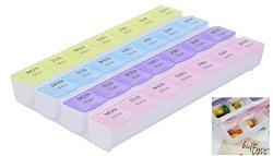 Bulfyss 7 Day 4 Times Medicine Box Organizer for Vitamins Tablets or Small Utilities Trinkets Tools Screws Storage Box (Multicolor)