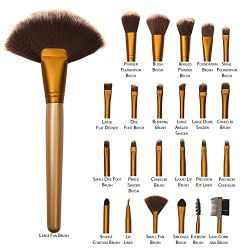 Allin Exporters Makeup Brushes 24Pcs Cosmetic Brush Set With Golden Leather Pouch For Eye Shadow Blush Concealer(Cream-Coloured)