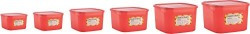 Nayasa Easy Funk Plastic Container Set, 6-Pieces, Red