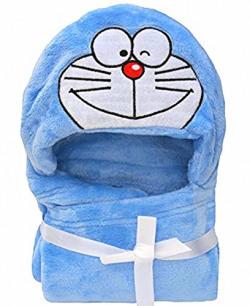 Brandonn Blue Doraemon Premium Hooded Baby Blanket(BLUE)