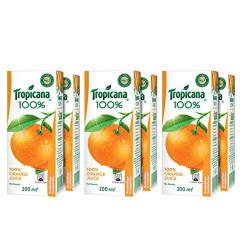 Tropicana 100% Orange Juice 200ml each (Pack of 6)