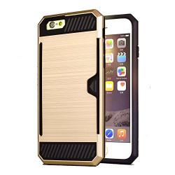 iPhone 6 6s 4.7 inch Premium Back Case [Bracevor] *Shock proof, Anti slip, Card slot, Shimmer Protective grip back Cover - Golden