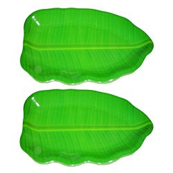 Hua You 14 inch Banana Leaf Shape South Indian Dinner Lunch Serving Melamine Platter Plate For All Occasions - 2 Pcs