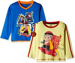 Mighty Raju Boys' Long Sleeve Top (GGAPP-CMB112A_French Vanilla and Blue_2 - 3 Years)