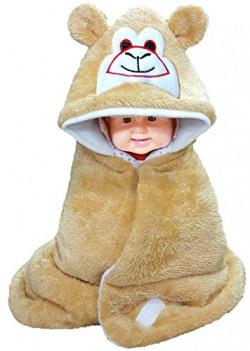 BRANDONN Smily Hooded Blanket cum Wrapper for Babies (Beige)