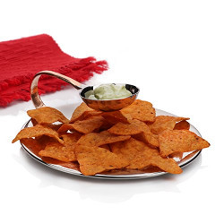 Sharda Corporation Chip N Dip Hammered Dip Plate For Snack server For Home , Hotel Restaurant , Stainless Steel, Serveware